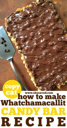 Anyone else love Whatchamacallit Candy Bars! Find out how to make these copycat Whatchamacallit candy bars at home for a taste sensation that is as close to the real thing as we think you'll get. Köstliche Desserts, Chocolate Desserts, Delicious Desserts, Dessert Recipes, Bar Recipes, Copycat Recipes, Great Desserts, Recipies, Smores Dessert