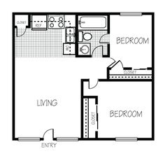 700 sq ft 2 bedroom floor plan | 600 Sq FT Floor Plan