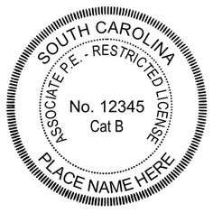 Here is another example of the #South #Carolina #Engineer seal. There are several set ups including this #associate #seal for this state. We also make #firm seals and #COA #seals.