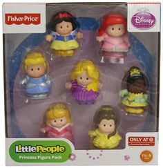 Fisher-Price Little People Disney Princess Figures: Cinderella, Ariel, Rapunzel, Tiana, Belle, Snow White, & Aurora Fisher-Price http://www.amazon.com/dp/B008PIN24U/ref=cm_sw_r_pi_dp_2BJzwb1EVXDTX