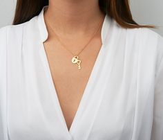 Lock and key gold necklace Love necklace by HLcollection on Etsy