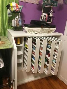 Discover recipes, home ideas, style inspiration and other ideas to try. Craft Room Storage, Sewing Room Storage, Sewing Room Organization, My Sewing Room, Sewing Rooms, Sewing Room Design, Craft Room Design, Space Crafts, Home Crafts