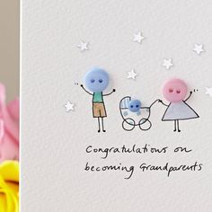 A delightful, hand illustrated 'Button Pram' card to welcome new babies - choose any message for the front of the card.Blue, pink, or yellow/white button babies are available (also twins), and contact me if you need a different couple combination for the parents. If you have any colour preferences please let me know in the 'any other instructions' box. Choose any personalised message you'd like for the front of the card, or leave blank for just the design (the message shown i...