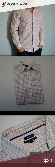 Gap Premium Button Down Shirt GAP Premium slim fit button down shirt. White shirt with blue and orange stripes for a classic pattern. 100% cotton for a great, durable fit. EUC GAP Shirts Casual Button Down Shirts
