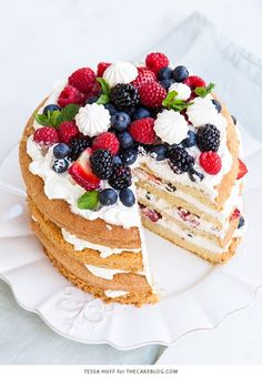 Eaton mess cake with crisp meringues, sweetened cream and fresh berries by thecakeblog.com: