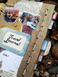 Travel Journal EDIT: love the paper bag & stitches!