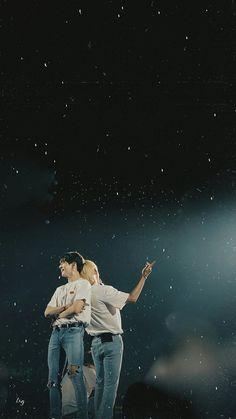 """it's like they're always surrounded by stars 💫"" Taekook, Vmin, Jung Kook, Yoonmin, Taehyung 2016, Bts Lyric, Vkook Fanart, Bts Backgrounds, Bts Lockscreen"