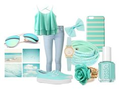 """not blue not green ans not Blue green"" by sassy-rice on Polyvore"