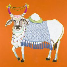 Print of Paige Gemmel original artwork. Printed on Epsom Premium Heavy Watercolor Paper. Original Artwork, Original Paintings, Indian Folk Art, Indian Art Paintings, Cow Art, Colorful Artwork, Print Artist, Chinoiserie, Watercolor Paper
