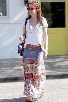 semi tucked-in long skirt