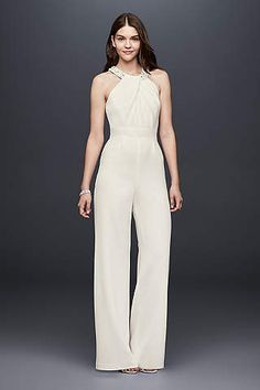 95efc28a87a Crepe Wide-Leg Jumpsuit with Crystal Neckline from David s Bridal white  wedding jumpsuit