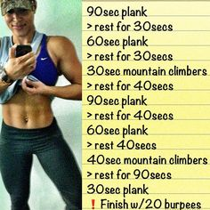 followthelitafitness: Sharing one of my fav Ab Routines.It makes the favorite list for two essential reasons: 1. It takes no longer than 12mins to complete (a great post workout number) 2. It'll have your entire core pinching, up your heart rate and leave you feeling like you deserve to add another teaspoon of peanut butter to your post work shake!  Don't cheat yourself, be sure to finish strong w/20 burpees immediately after the final plank! Ok…Now you can collapse!  Advanced: Up the intens