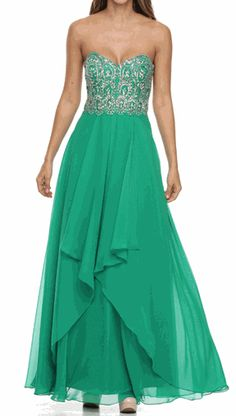 48c1d3e9245 Emerald Strapless Embellished Bodice Chiffon Prom Gown - Discountdressup  Store  prom  green  gown
