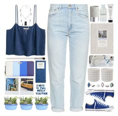 """Blue dream"" by doga1 ❤ liked on Polyvore featuring M.i.h Jeans, Charlotte Russe, Kate Spade, Polaroid, Cath Kidston, Converse, Casetify, philosophy, Lord & Berry and CB2"