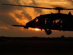 Blackhawk Helicopter at Sunset