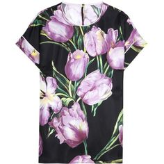 Dolce & Gabbana Floral-Printed Silk Top ($1,065) ❤ liked on Polyvore featuring tops, black, flower print tops, floral silk top, floral print tops, floral tops and dolce gabbana top