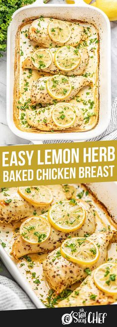 Easy Lemon Herb Baked Chicken Breast Easy Lemon Herb Baked Chicken Breast is a quick meal that is healthy and oh so delicious! It is perfect for busy schedules or just because it is. Juicy Baked Chicken, Baked Chicken Breast, Baked Chicken Recipes, Chicken Breasts, Healthy Lemon Chicken Recipe, Healthy Chicken Meals, Chicken Thigh Recipes Oven, Boneless Chicken Thighs, Healthy Baking