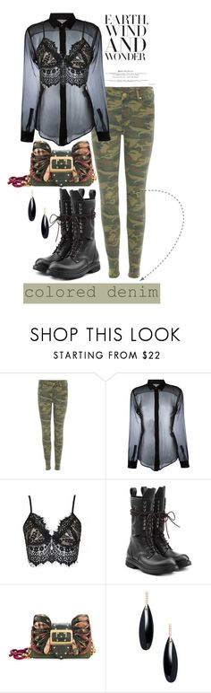 """Spring Trend: Colored Denim"" by flippintickledinc ❤ liked on Polyvore featuring True Religion, Yves Saint Laurent, Rick Owens, Burberry, Janis Savitt and coloredjeans"