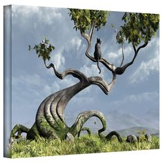 'Sitting Tree' by Cynthia Decker Graphic Art on Wrapped Canvas