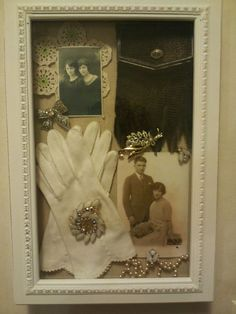 A shadow box to put in my grandma's photos, gloves, jewerlies, doilies and purse.