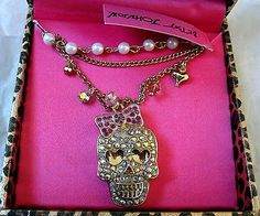Betsey Johnson Crystal Skull Necklace New in box $35--Authentic new with tags