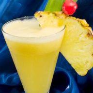 Pineapple Daiquiri: Light Rum - 2 oz, Triple Sec - .5 oz, Pineapple - 6 chunks of fresh or canned, Lemon Juice - .5 oz , Lime Juice - .5 oz