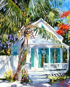 This is soooo beautiful. Click the small pic to see MUCH bigger with all the brush strokes! Watercolor Landscape, Landscape Art, Landscape Paintings, Watercolor Paintings, Watercolors, Caribbean Art, Image Nature, Cottage Art, Tropical Art