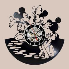 Mickey And Minnie Mouse Design Led Vinyl Wall Clock Wall Lighting Color Change Vintage Lp Record Decor Handmade Light Record Decor, Vinyl Record Crafts, Vinyl Record Clock, Record Wall, Vinyl Art, Vinyl Records, Disney Clock, Ambiance Sticker, Cute Clock
