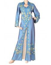 "aljalabiya.com: ""The Juniper Lavender Kaftan"" Full hand and machine embroidery jalabiya with shantung dupioni fabric (N-10079)  11 Review(s)  $114.00"