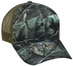 Fishouflage, Cotton Twill, Mesh Back Camo Hat with Velcro Closure  http://www.capstoyou.com/Fishouflage-Cotton-Twill-Mesh-Back-Camo-Hat-with-p/f0f-200.htm