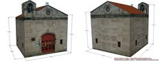 Paper model of Sts Cosmas & Damian Chapel.  The façade and the structure of the chapel are quite simple; remarkable enough are the basket-handled arch* in the front door and the sculptures of saints under the canopy. The granite stonecutting work was done by Jacome de Moure, grandfather of Francisco Moure, Spanish Baroque and Mannerist sculptor who is best known for his work on the Cathedral of Ourense and in Monforte de Lemos.
