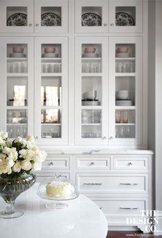 custom kitchen, white kitchen, parisian chic, built-in buffet, glass display, white roses,