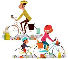 family on bikes illustration
