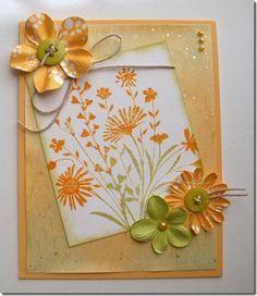 Orange/yellow card - floral
