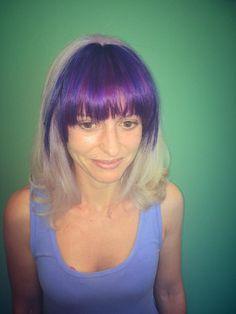 Purple Bangs and White Hair