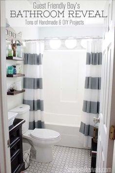 guest friendly nautical style small bath makeover, bathroom ideas, home decor, shelving ideas, small bathroom ideas
