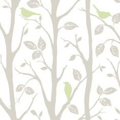 WallPOPs 30.75 sq. ft. Grey and Green Sitting in a Tree Peel and Stick Wallpaper