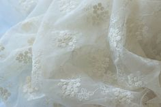 ivory lace fabric with small flowers by LaceFun on Etsy