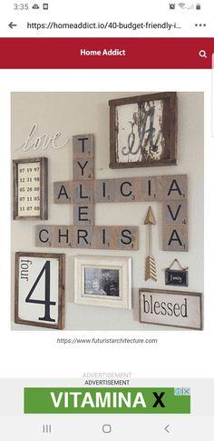 Diy Craft Projects, Diy Crafts, Scrabble Wall Art, Gallery Wall, Crafty, Wood, Frame, Home Decor, Bar