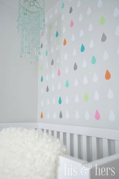 raindrops accent wall- cute for kid room 2019 raindrops accent wall- cute for . raindrops accent w Girl Nursery, Girl Room, Baby Room, Herringbone Wall, Nursery Themes, Nursery Ideas, Nursery Decor, Bedroom Decor, Wall Decor