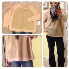 Free People Camel Sweater - Small PRICE DROP, originally listed at $30  Cute and comfortable over-sized sweater in a camel and tan color combination. This is a really versatile sweater and warm when worn with a base layer! Ready for a night out! New with tags.    Body made of 75% acrylic, 25% nylon. Sleeves and trim made of 80% wool, 20% nylon. Free People Sweaters