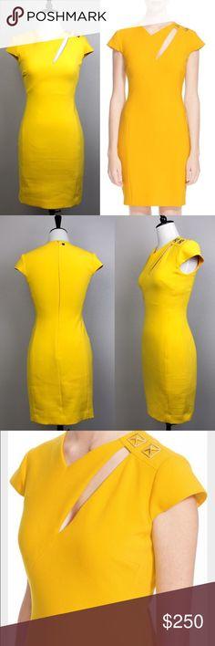 "Versace yellow cap sleeve cutout sheath dress In great condition. Versace yellow sheath dress with cutout at the neck, gold ornaments on the left shoulder. Back zipper closure. Size 38. Waist approximately 26"". Length approximately 34.5"". #D006-01177 Versace Dresses"