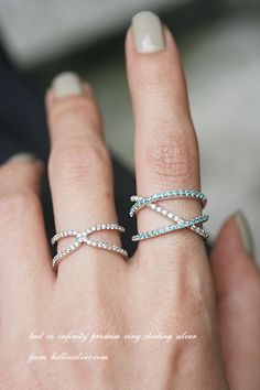 Teal CZ Infinity Promise Ring Sterling Silver - Kellinsilver