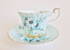 Royal Albert Teacup and Saucer, Vintage Royal Albert Marguerite Teacup Blue with Daisies, Made in England Bone China, Gift for Tea Lover by OtterValleyVintage on Etsy