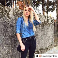 Maiara Guinther arrasou com look perfeito para encarar a meia-estação. 💙 #totaljeans #gdokyjeans #repost