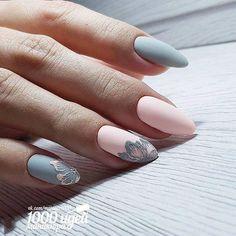 62 Ideas Fails Design Grey And Pink Nailart Grey Nail Designs, French Nail Designs, Nail Designs Spring, Cool Nail Designs, Acrylic Nail Designs, Trendy Nail Art, Cool Nail Art, French Nails, Nailart