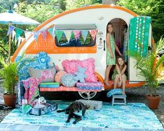 playhous, little girls, teardrop campers, sewing projects, outdoor play, summer houses, teardrop trailer, mini campers, vintage campers