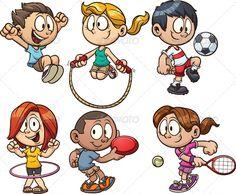 cartoon teen kids | Cartoon kids playing. Vector clip art illustration with simple ...