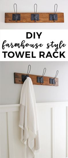 How to make a farmhouse style DIY towel rack or coat rack. This easy DIY wood to… How to make a farmhouse style DIY towel rack or coat rack. This easy DIY wood towel rack adds function and pretty decor… Continue Reading → Hang Towels In Bathroom, Bathroom Towel Storage, Laundry Storage, Laundry Room, Diy Simple, Easy Diy, Farmhouse Furniture, Home Furniture, Space Furniture