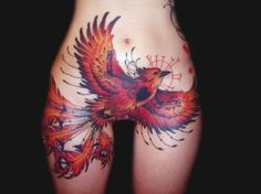 Joey Ortega | Inked Magazine. Nope I would not ever get a tattoo here lol but I love this phoenix. Very nicely done